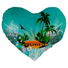 Surfboard With Palm And Flowers Large 19  Premium Flano Heart Shape Cushions