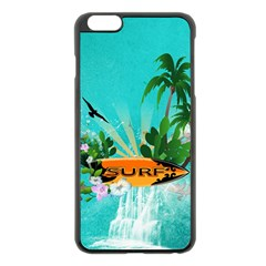 Surfboard With Palm And Flowers Apple iPhone 6 Plus/6S Plus Black Enamel Case