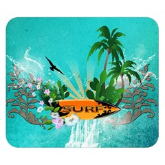 Surfboard With Palm And Flowers Double Sided Flano Blanket (small)
