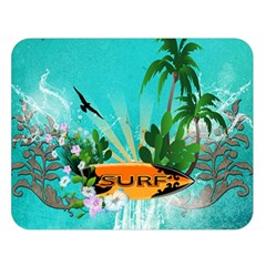 Surfboard With Palm And Flowers Double Sided Flano Blanket (Large)