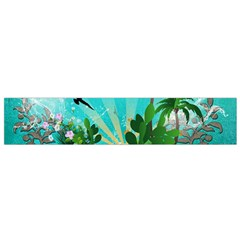 Surfboard With Palm And Flowers Flano Scarf (Small)