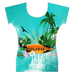 Surfboard With Palm And Flowers Women s Cap Sleeve Top