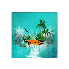 Surfboard With Palm And Flowers Satin Bandana Scarf
