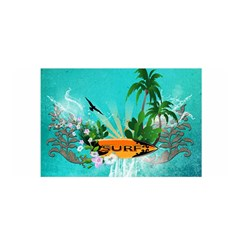 Surfboard With Palm And Flowers Satin Wrap