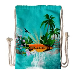 Surfboard With Palm And Flowers Drawstring Bag (Large)