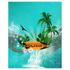 Surfboard With Palm And Flowers Drawstring Bag (Small)