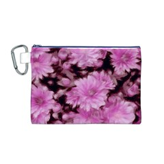 Phenomenal Blossoms Pink Canvas Cosmetic Bag (M)