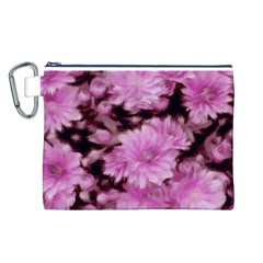 Phenomenal Blossoms Pink Canvas Cosmetic Bag (L)
