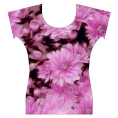 Phenomenal Blossoms Pink Women s Cap Sleeve Top