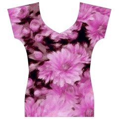 Phenomenal Blossoms Pink Women s V-Neck Cap Sleeve Top