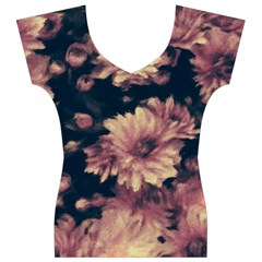 Phenomenal Blossoms Soft Women s V-Neck Cap Sleeve Top