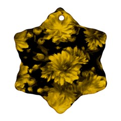 Phenomenal Blossoms Yellow Snowflake Ornament (2 Side)