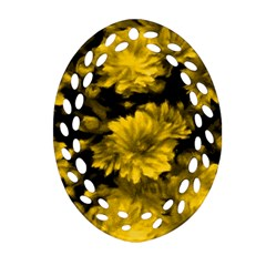 Phenomenal Blossoms Yellow Oval Filigree Ornament (2-Side)