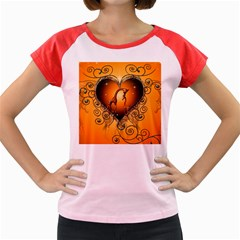 Funny Cute Giraffe With Your Child In A Heart Women s Cap Sleeve T-Shirt