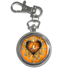 Funny Cute Giraffe With Your Child In A Heart Key Chain Watches
