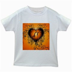 Funny Cute Giraffe With Your Child In A Heart Kids White T-Shirts