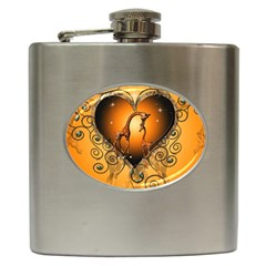 Funny Cute Giraffe With Your Child In A Heart Hip Flask (6 oz)