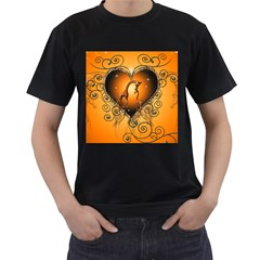Funny Cute Giraffe With Your Child In A Heart Men s T Shirt (black) (two Sided)