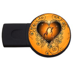 Funny Cute Giraffe With Your Child In A Heart USB Flash Drive Round (4 GB)