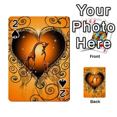 Funny Cute Giraffe With Your Child In A Heart Playing Cards 54 Designs