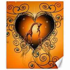 Funny Cute Giraffe With Your Child In A Heart Canvas 20  x 24