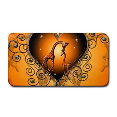 Funny Cute Giraffe With Your Child In A Heart Medium Bar Mats