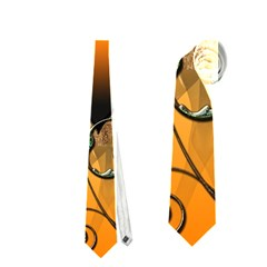 Funny Cute Giraffe With Your Child In A Heart Neckties (Two Side)