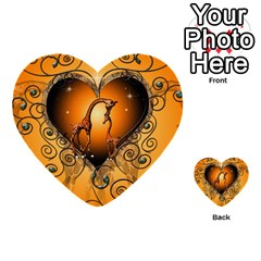 Funny Cute Giraffe With Your Child In A Heart Multi-purpose Cards (Heart)