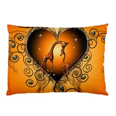 Funny Cute Giraffe With Your Child In A Heart Pillow Cases