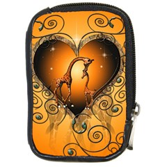 Funny Cute Giraffe With Your Child In A Heart Compact Camera Cases