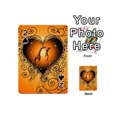Funny Cute Giraffe With Your Child In A Heart Playing Cards 54 (mini)