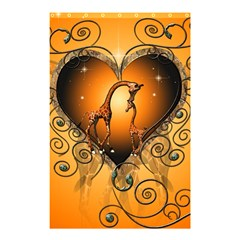 Funny Cute Giraffe With Your Child In A Heart Shower Curtain 48  x 72  (Small)