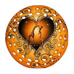 Funny Cute Giraffe With Your Child In A Heart Round Filigree Ornament (2side)