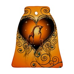 Funny Cute Giraffe With Your Child In A Heart Bell Ornament (2 Sides)