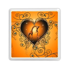 Funny Cute Giraffe With Your Child In A Heart Memory Card Reader (square)