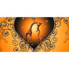 Funny Cute Giraffe With Your Child In A Heart You Are Invited 3d Greeting Card (8x4)