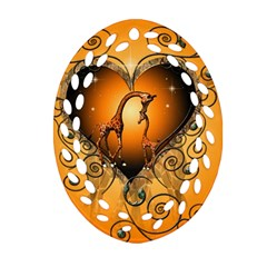 Funny Cute Giraffe With Your Child In A Heart Ornament (oval Filigree)