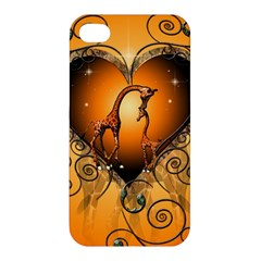 Funny Cute Giraffe With Your Child In A Heart Apple iPhone 4/4S Hardshell Case