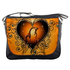 Funny Cute Giraffe With Your Child In A Heart Messenger Bags