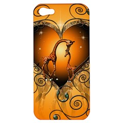 Funny Cute Giraffe With Your Child In A Heart Apple iPhone 5 Hardshell Case