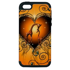 Funny Cute Giraffe With Your Child In A Heart Apple iPhone 5 Hardshell Case (PC+Silicone)