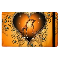 Funny Cute Giraffe With Your Child In A Heart Apple iPad 3/4 Flip Case