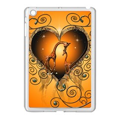 Funny Cute Giraffe With Your Child In A Heart Apple iPad Mini Case (White)