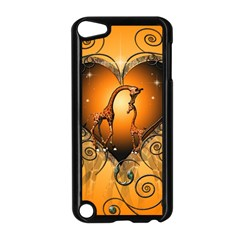 Funny Cute Giraffe With Your Child In A Heart Apple iPod Touch 5 Case (Black)