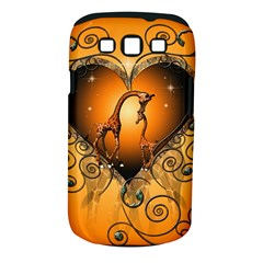 Funny Cute Giraffe With Your Child In A Heart Samsung Galaxy S III Classic Hardshell Case (PC+Silicone)