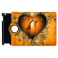 Funny Cute Giraffe With Your Child In A Heart Apple iPad 3/4 Flip 360 Case