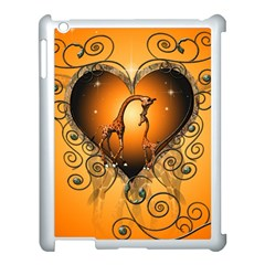 Funny Cute Giraffe With Your Child In A Heart Apple iPad 3/4 Case (White)