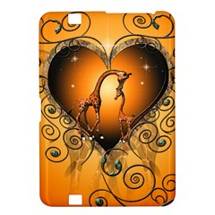Funny Cute Giraffe With Your Child In A Heart Kindle Fire HD 8.9