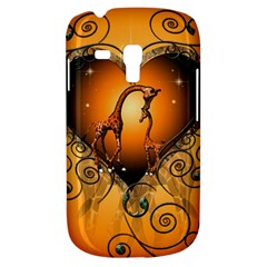 Funny Cute Giraffe With Your Child In A Heart Samsung Galaxy S3 MINI I8190 Hardshell Case