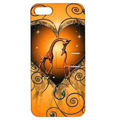 Funny Cute Giraffe With Your Child In A Heart Apple iPhone 5 Hardshell Case with Stand